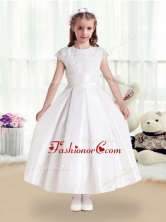 Pretty Scoop Satin Flower Girl Dresses with Appliques    FGL237FOR