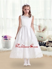 Pretty Scoop White Flower Girl Dresses with Lace and Belt FGL255FOR