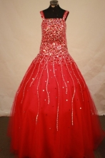 Romantic A-line Square Floor-length Red Beading Flower Girl Dresses Style FA-C-263