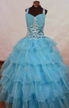 Romantic Ball Gown Strap Floor-length Aqua Blue Organza Beading Flower Girl dress Style FA-L-459