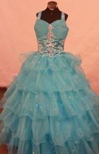 Romantic Ball Gown Strap Floor-length Aqua Blue Organza Beading Flower Gril dress Style FA-L-459