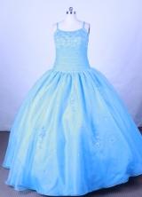 Romantic Ball Gown Straps Floor-Length Baby Blue Beading Flower Girl Dresses Style FA-S-214