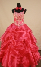 Romantic Ball Gown Straps Floor-Length Red Appliques and Beading Flower Girl Dresses Style FA-S-232