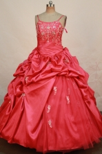 Romantic Ball Gown Straps Floor-Length Red Beading and Appliques Flower Girl Dresses Style FA-S-215
