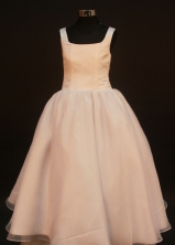 Simple A-line Square Floor-length Flower Girl Dresses Style FA-C-156