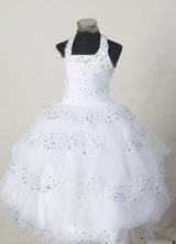Simple Ball Gown Halter top neck Floor-Length Beading Little Girl Pageant Dresses Style FA-Y-301