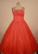 Simple Ball Gown Strap Floor-length Orange Red Flower Gril dress Style FA-L-415