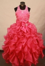 Sweet Ball Gown Halter Top Floor-length Red Organza Beading Flower Gril dress Style FA-L-438