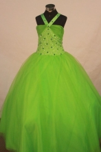 Sweet Ball Gown Halter Top Floor-length Spring Green Beading Flower Gril dress Style FA-L-422