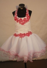 Sweet Ball Gown Halter Top Mini-length White Organza Hand Flowers Flower Gril dress Style FA-L-423