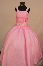 Sweet Ball Gown Strap Floor-length Baby Pink Taffeta Beading Flower Gril dress Style FA-L-431
