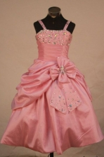 Sweet Ball Gown Strap Floor-length Baby Pink Taffeta Beading Flower Gril dress Style FA-L-432