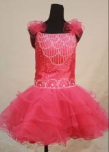 Sweet Ball Gown Strap Mini-length Pink Organza Beading Flower Gril dress Style FA-L-413