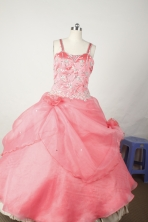 Sweet Ball Gown Straps Floor-Length Baby Pink Appliques and Beading Flower Girl Dresses Y042433