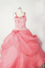 Sweet Ball Gown Straps Floor-Length Baby Pink Appliques and Beading Flower Girl Dresses Style FA-S-210