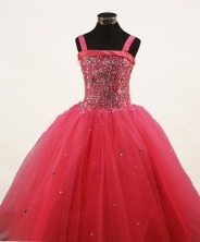 Sweet Ball Gown Straps Floor-Length Red Beading and Appliques Flower Girl Dresses Style FA-S-216