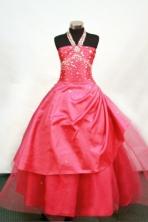 Sweet Ball gown Halter Top Neck Floor-length Flower Girl Dresses Style FA-C-133