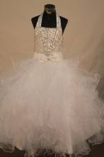 Sweet Ball gown Halter top neck Floor-length Organza White Beading Flower Girl Dresses Style FA-C-27