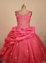 Sweet Ball gown Square Floor-length Waltermelon Beading Flower Girl Dresses Style FA-C-278