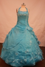 Wonderful Ball gown Halter top neck Floor-length Litter Girl Pageant Dress Style FA-W-288