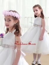 Wonderful Scoop White Flower Girl Dresses with Beading FGL244FOR