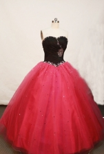 Beautiful Ball gown Sweetheart-neck Floor-length Tulle Red Quinceanera Dresses Style FA-W-131