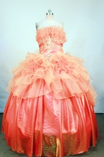 Luxurious Ball gown Strapless Floor-length Orange Quinceanera Dresses Style FA-C-115