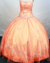 Modest ball gown strapless floor-length organza orange red embroidery with beading quinceanera dresses FA-X-106
