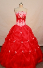 Perfect ball gown strapless floor-length appliques red quinceanera dress FA-X-021