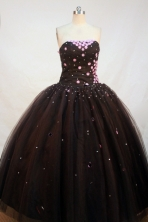 Simple Ball gown Strapless Floor-length Appliques Black Quinceanera Dresses Style FA-C-092