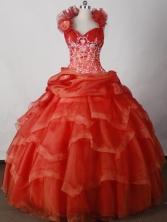 Beautiful Ball Gown Halter Floor-length Red Quinceanera Dress LJ2651