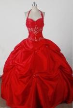 Beautiful Ball Gown Halter Floor-length Red Quincenera Dresses TD260023