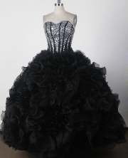 Beautiful Ball Gown Strapless Floor-length Black Quinceanera Dress LJ2669