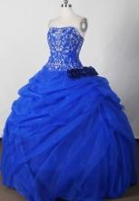 Beautiful Ball Gown Strapless Floor-length Blue Quinceanera Dress LJ2621