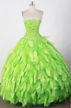 Beautiful Ball Gown Strapless Floor-length Green Quincenera Dresses TD260017