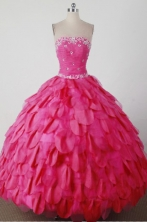 Beautiful Ball Gown Strapless Floor-length Hot Pink Quincenera Dresses TD260014