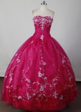 Beautiful Ball Gown Strapless Floor-length Magenta Quinceanera Dress LJ2606