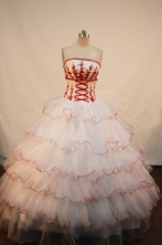 Beautiful Ball gown Strapless Floor-length Quinceanera Dresses Appliques Style FA-Z-0080