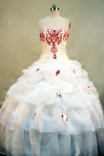Beautiful Ball gown Sweetheart-neck Floor-length Organza White Quinceanera Dresses Style FA-C-097