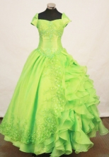 Beautiful ball gown short sleeves floor-length organza lace spring green quinceanera dress FA-X-013