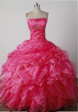 Beauty Ball Gown Strapless Floor-length Hot Pink Quincenera Dresses TD26006