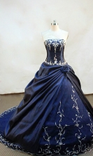 Brand New ball gown strapless chapel navy blue taffeta appliques with beading  quinceanera dress FA-X-008