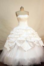 Brand New ball gown strapless floor-length appliques white taffeta quinceanera dress FA-X-059