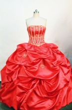 Brand New ball gown strapless floor-length red appliques quinceanera dress FA-X-060