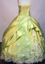 Brand new Ball gown Strapless Floor-length Yellow Green Taffeta Quinceanera Dresses Style FA-C-095