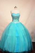 Cheap Ball gown Sweetheart-neck Floor-length Aqua Blue Quinceanera Dresses Style FA-C-101
