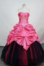Cheap ball gown strapless floor-length  watermelon taffeta quinceanera dress FA-X-015