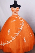 Classical Ball Gown Sweetheart-neck Floor-length Orange Quinceanera Dresses Style FA-C-085