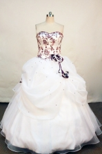 Discount ball gown sweetheart-neck floor-length white satin embroidery with burgundy quinceanera dress FA-X-014