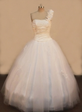 Elegant A-line OneShoulder Neck Floor-length Quinceanera Dresses Appliques Style FA-Z-0087